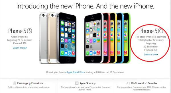 the iPhone 5C price in Australia is starts at $739
