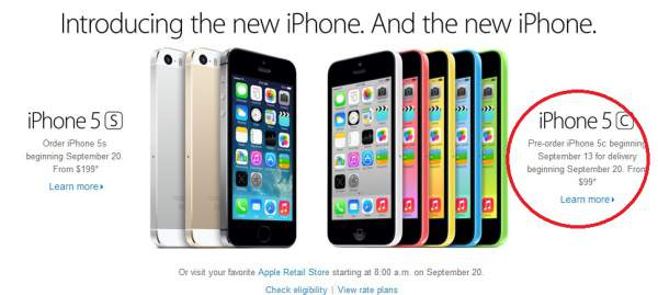 iPhone 5C price in the US
